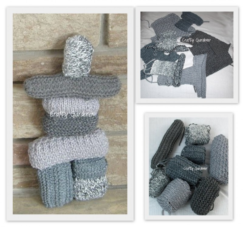 a knitted inuksuk at craftygardener.ca