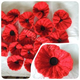 knitted poppies at craftygardener.ca