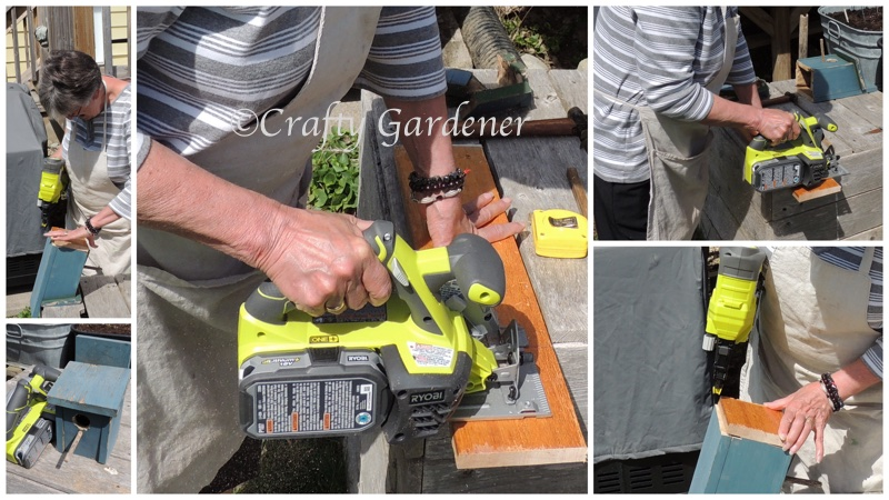 working with power tools at craftygardener.ca