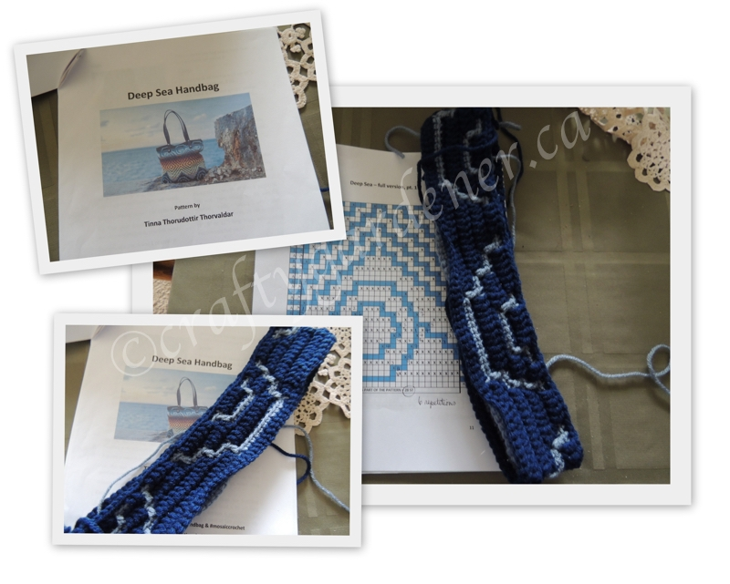 a mosaic crochet bag in blues at craftygardener.ca