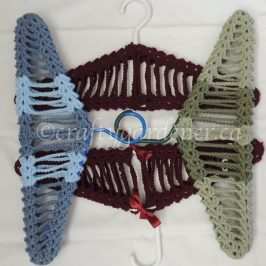 removable and multi coloured crochet hanger covers at craftygardener.ca