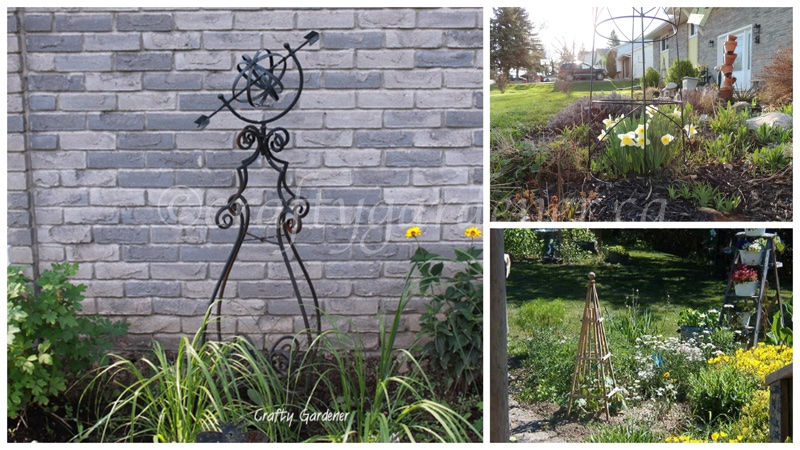 obelisks in the garden at craftygardener.ca