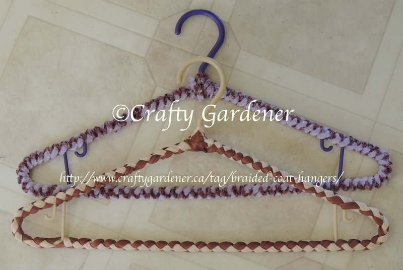 making braided covered coat hangers at craftygardener.ca