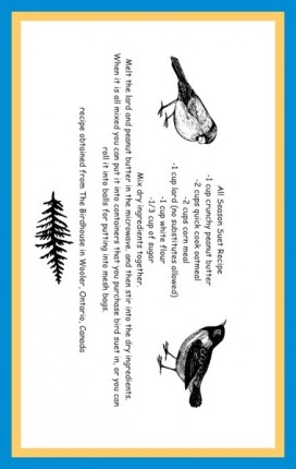 printable recipe card for all season suet at craftygardener.ca