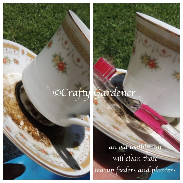 cleaning the craf-tea planters from craftygardener.ca