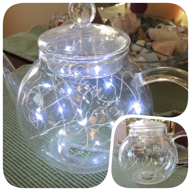 making a lighted teapot from a broken clear teapot at craftygardener.ca