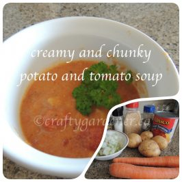 making tomato potato soup at craftygardener.ca
