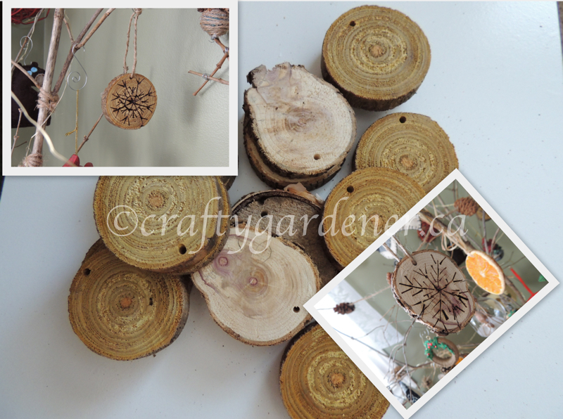 how to make wooden disc snowflakes at craftygardener.ca